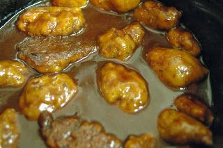 Vegan sausage balls in the crockpot