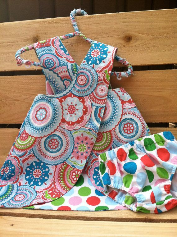 Baby Girl Reversible Pinafore Dress with Matching by TheBeeInMe, $28.95
