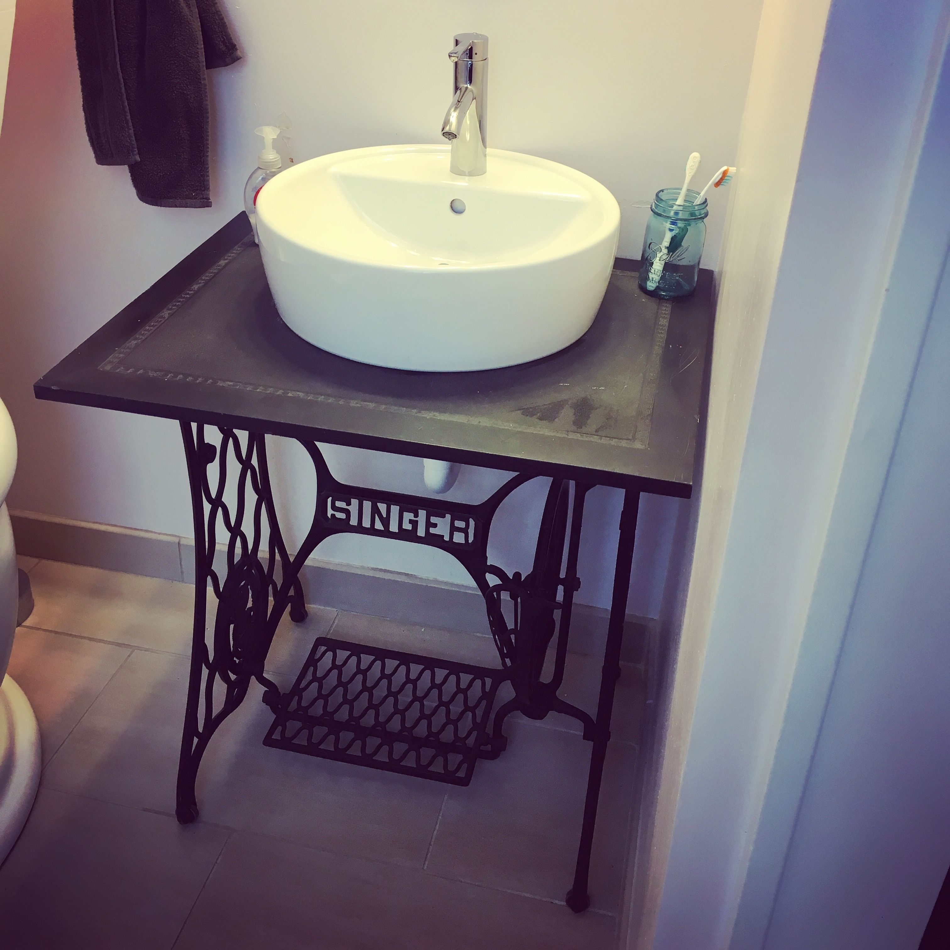 Old Sewing Machine Base Turned Into Bathroom Vanity With