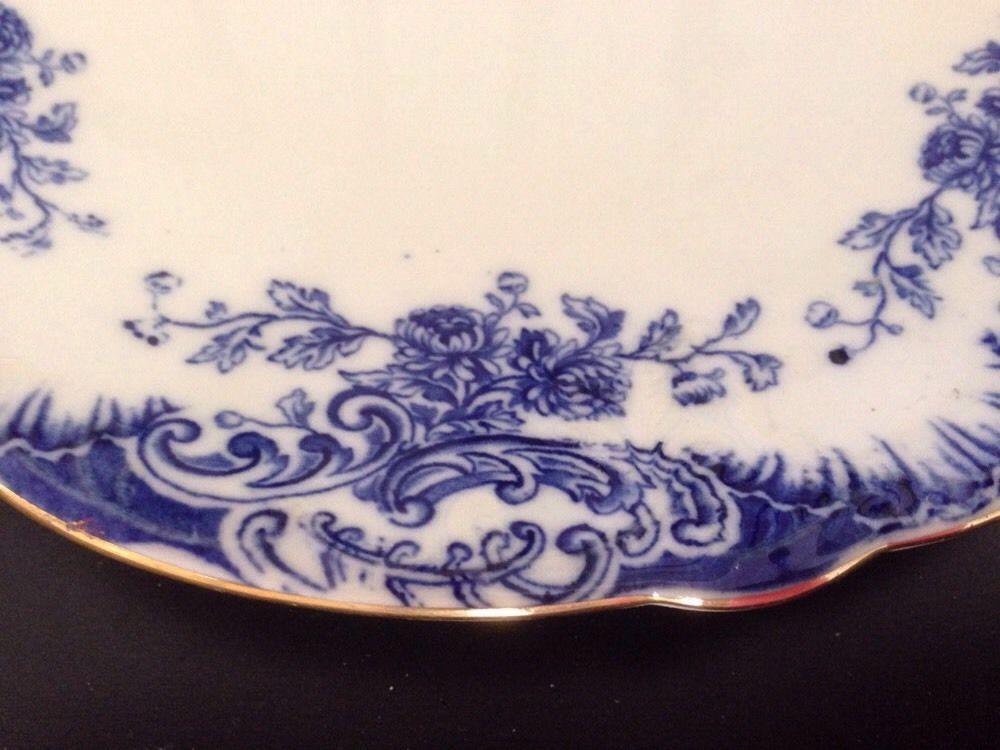 "Antique Aynsley Porcelain 9"" Cake Plate Flow Blue Raised Pattern c1890s, England | eBay"