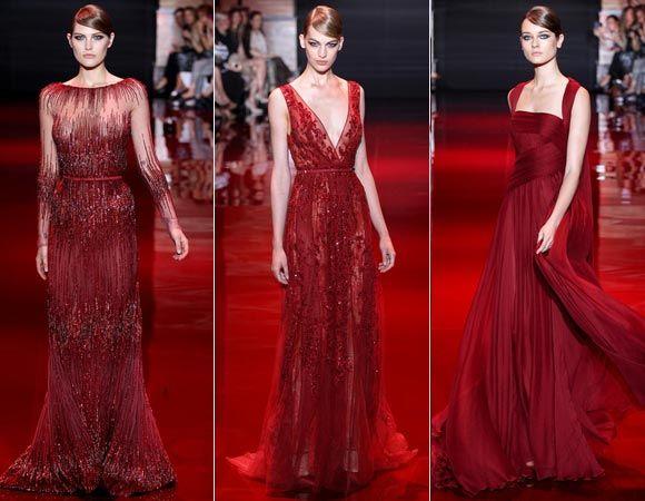 A coleção de Elie também apostou no vermelho! A cor predominou no desfile em versões superelegantes <3