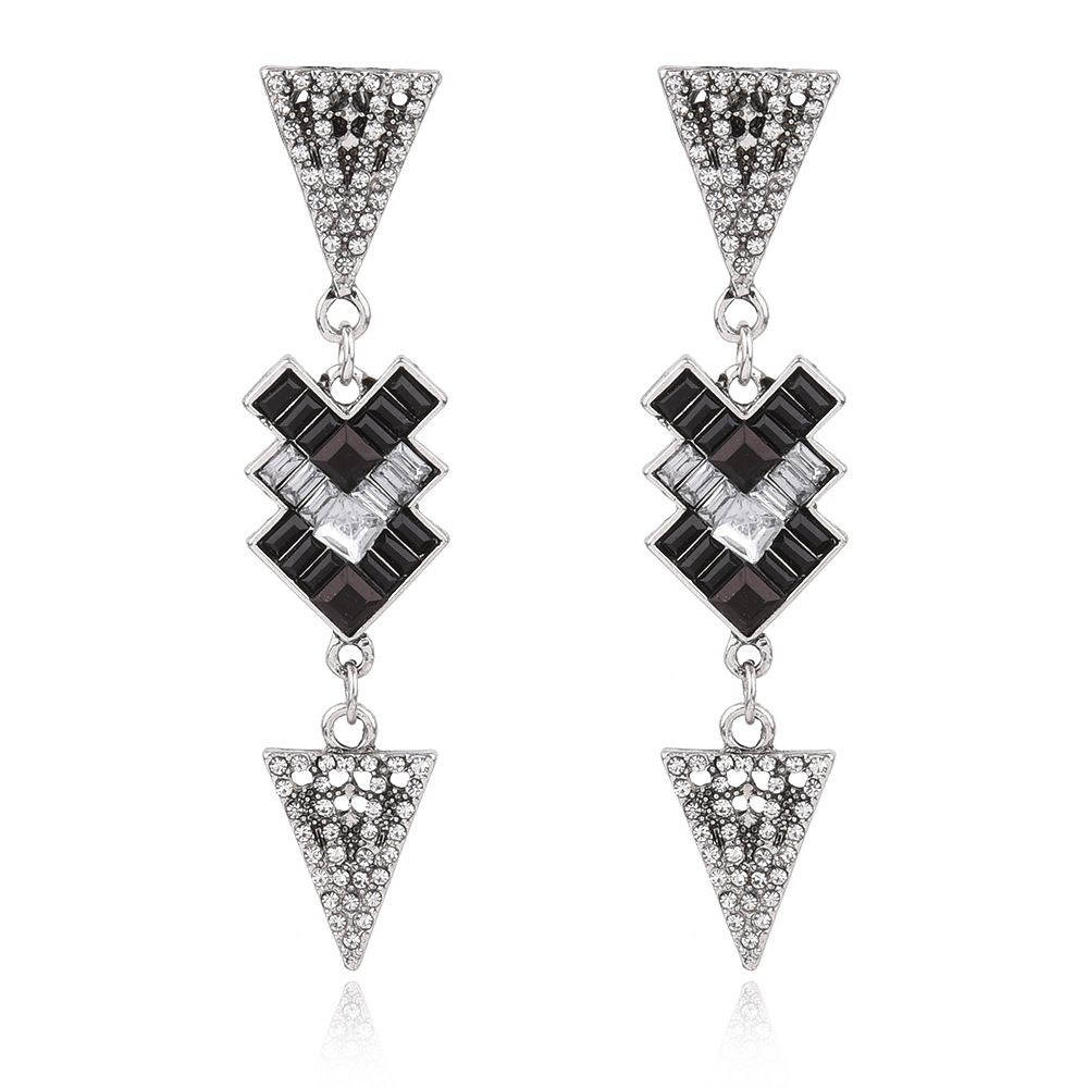 Latest Black Rhinestone Earrings For Women Gift Long Triangle Earrings Gift  Eb