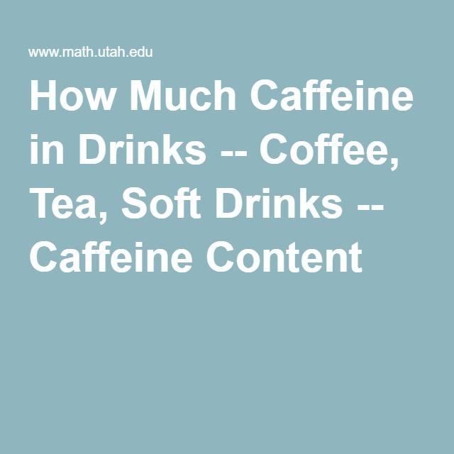 How Much Caffeine in Drinks -- Coffee, Tea, Soft Drinks -- Caffeine Content