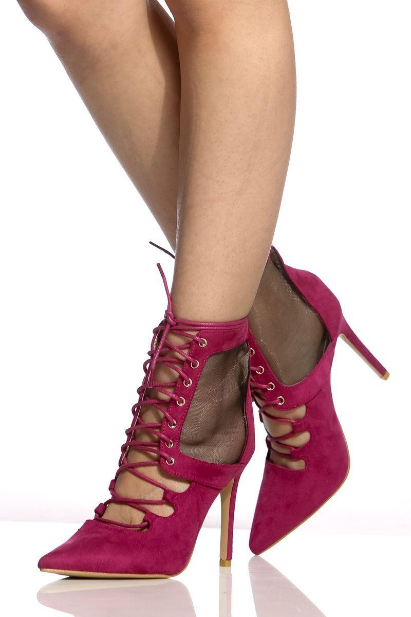 6c143827bd8d Fuchsia Faux Suede Lace Up Mesh Contrast Heels   Cicihot Heel Shoes online  store sales Stiletto Heel Shoes