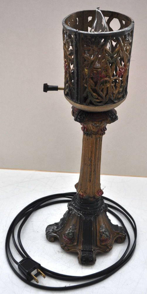 Vintage used antique table lamp heavy lead zinc 1930 rewired 85 vintage used antique table lamp heavy lead zinc 1930 rewired 85 original paint greentooth Image collections