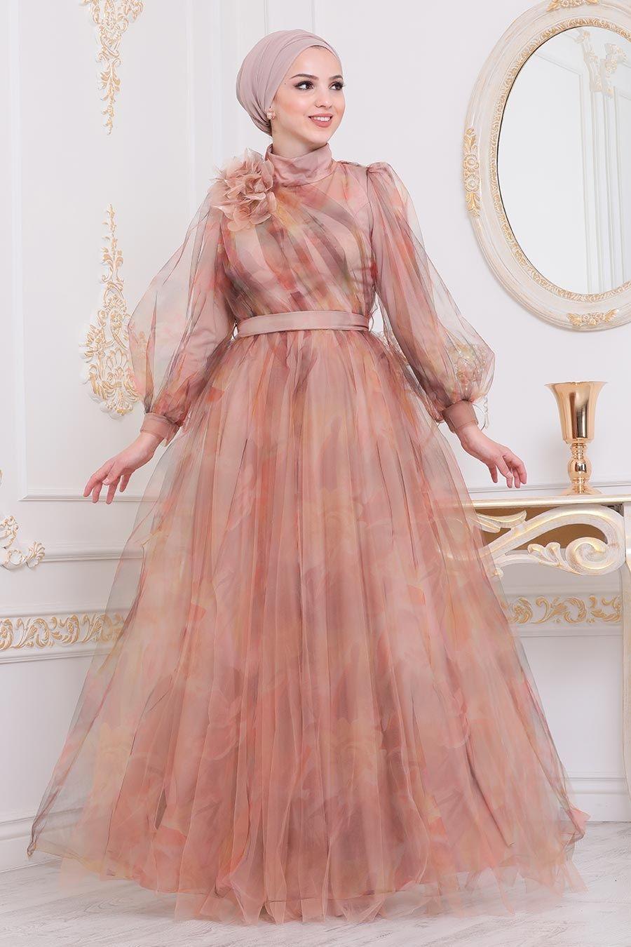 Tesetturlu Abiye Elbise Cicek Detayli Turuncu Tesettur Abiye Elbise 4111t Tesetturisland Com 2020 The Dress Aksamustu Giysileri Elbise