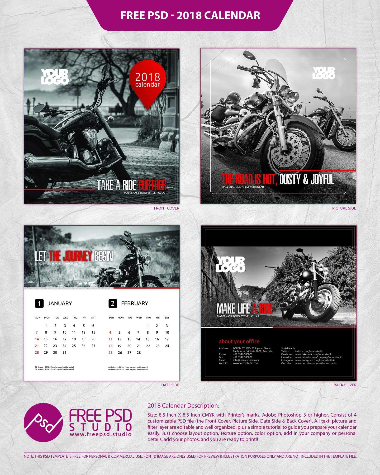 2018 calendar psd, 2018 calendar template, free template calendar ...