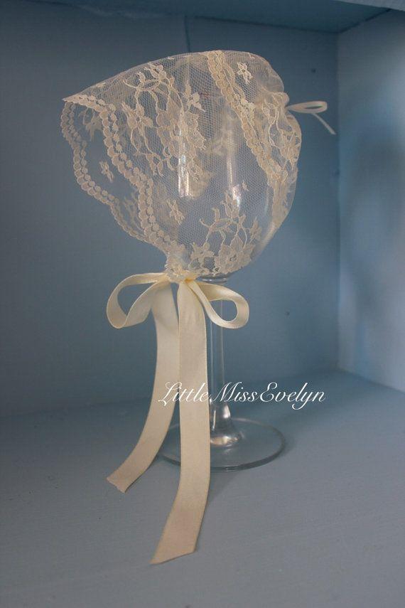 Lace newborn bonnet Ivory lace hat girls by LittleMissEvie on Etsy ... f6427146ebc