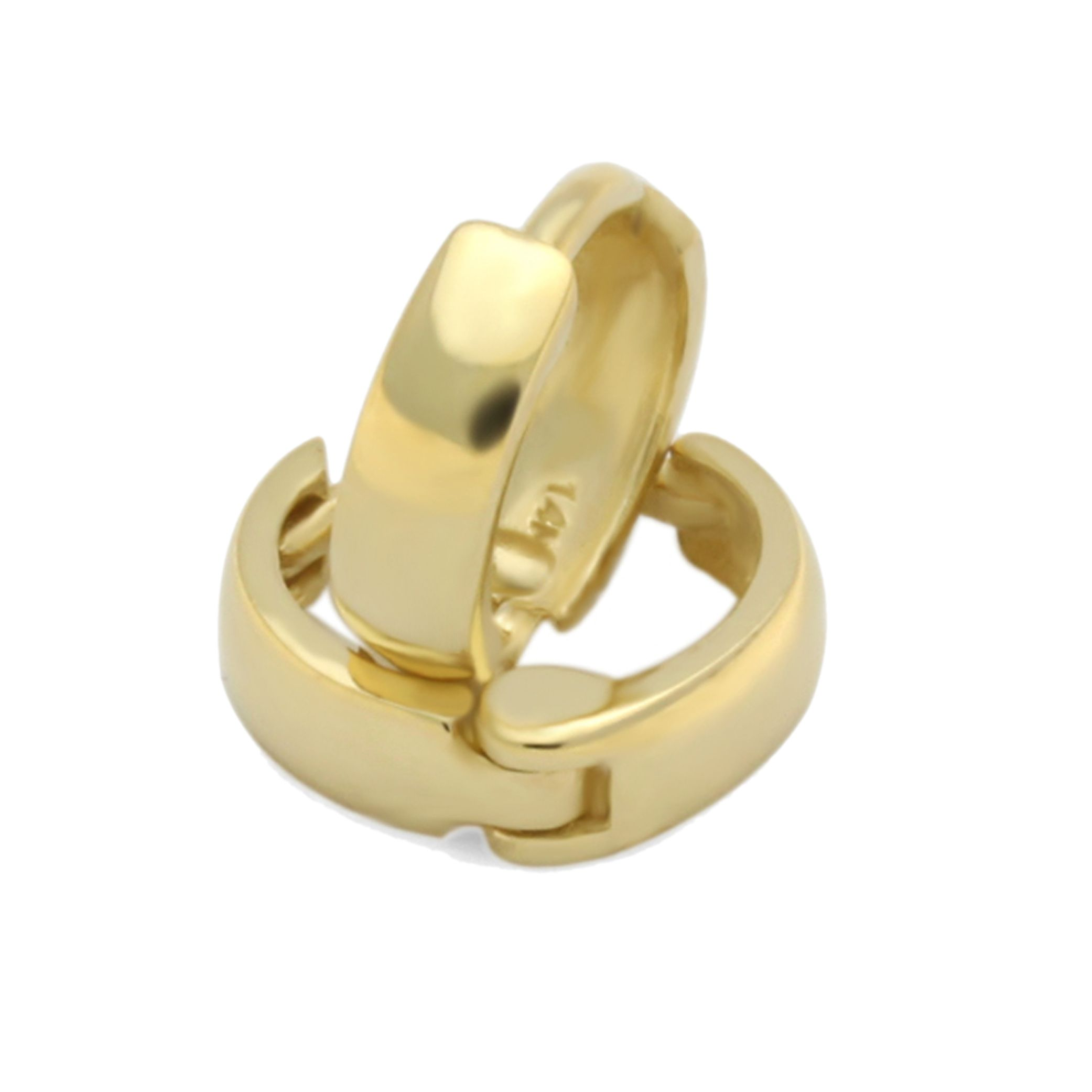 Double Accent 14k Yellow Gold Plain 2 X 6mm Domed Small Huggie Hoop Earrings