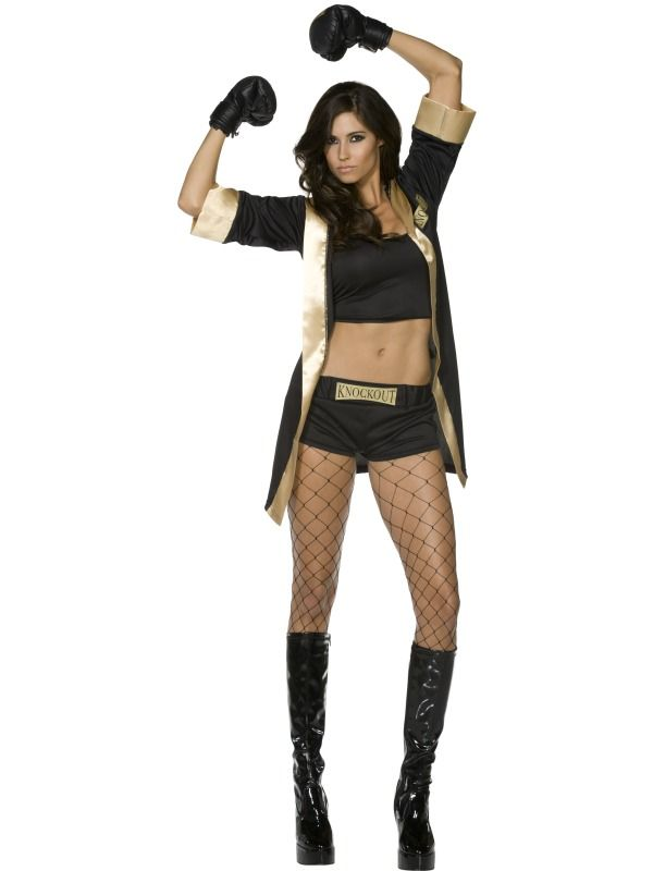 Total Knockout Costume Sexy Boxing Costume for Women Sexy Boxer Costume for Women  sc 1 st  Pinterest & Fever Knockout Costume Black and Gold with Vest Shorts Jacket ...