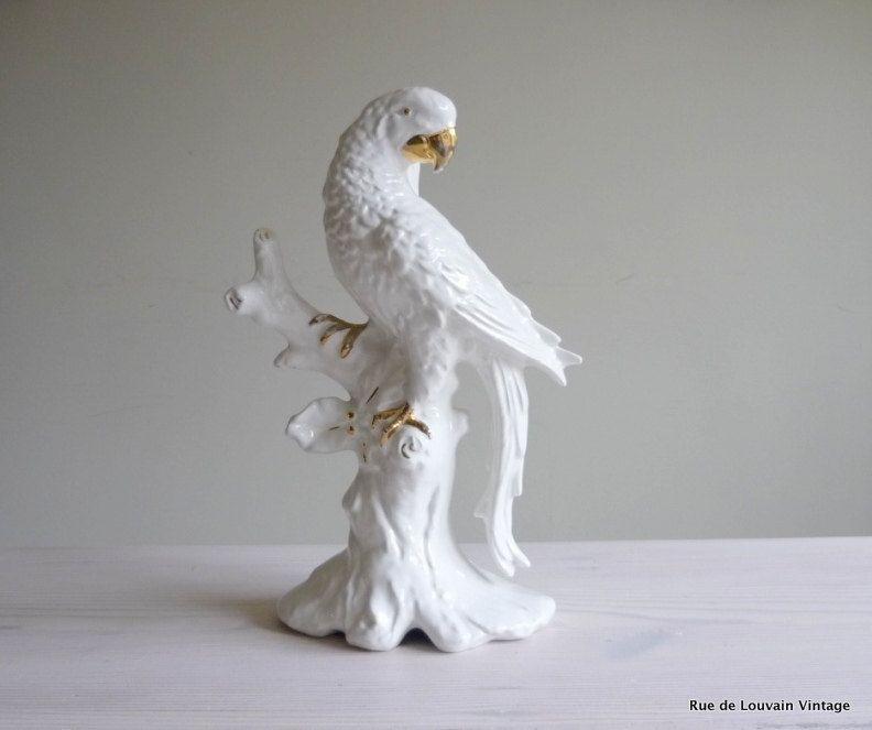 SOLD White Italian ceramic parrot lamp, Hollywood Regency lamp ...