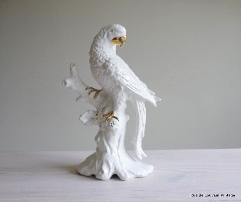 SOLD White Italian Ceramic Parrot Lamp, Hollywood Regency Lamp, Large Parrot  Table Lamp,