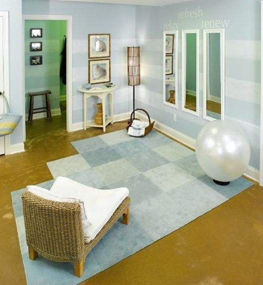 Cute paint and motivationally decorated walls for a mindbody oasis.  Mirrors are great too!