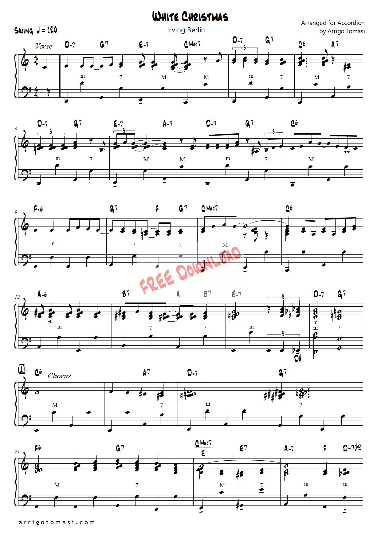 White Christmas For Accordion Partituras Partitura Piano Piano