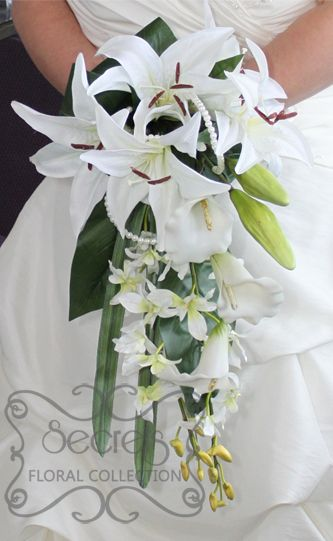 Artificial White Lilies Calla Dendrobium Orchids Bridal Bouquet With Pearl Accent Front