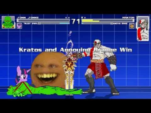 The Annoying Orange And Kratos VS Martian Manhunter & Twilight Sparkle In A MUGEN Match / Battle This video showcases Gameplay of Twilight Sparkle From The My Little Pony Friendship Is Magic Series And Martian Manhunter VS Kratos From The God Of War Series And The Annoying Orange In A MUGEN Match / Battle / Fight