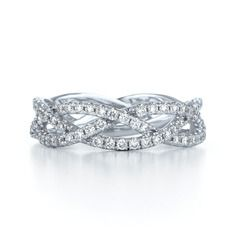 jewelry Three row woven diamond ring in 18K white gold thinner