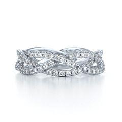 Jewelry Three Row Woven Diamond Ring In 18K White Gold Thinner