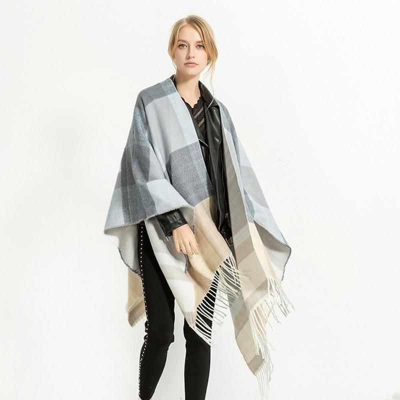 XIANXIANQING Winter Women s Thickening Poncho Tassle Scarf Shawls Female s  Plaid Blanket Lady s Fashion Neck Capes DP2637. Yesterday s price  US   37.60 ... bc45a321fd