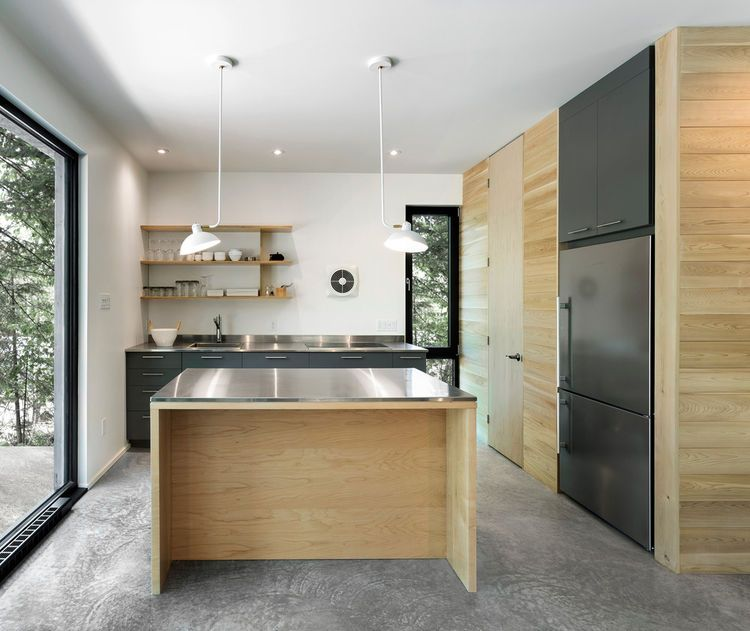 Modern Kitchen With Gray Laminate Countertops And