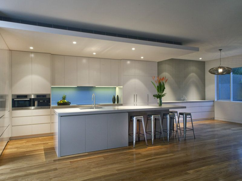 Modern kitchen dining kitchen design using floorboards for Modern galley kitchen ideas