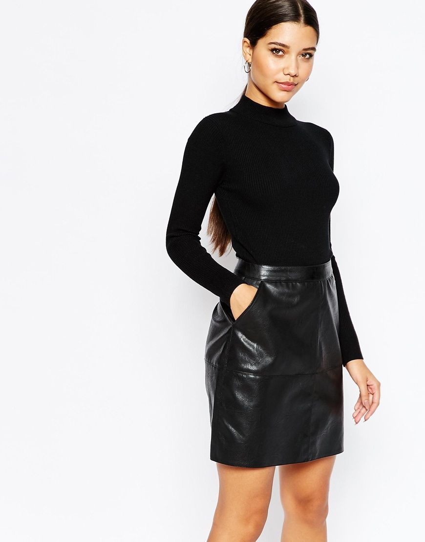 Lipsy in knitted pencil dress with pu skirt s t y l e