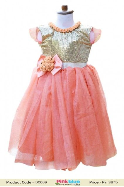 42ffed9af9 Peach and Golden Sequins Party Gown with Flowers for Kids in 2019 ...
