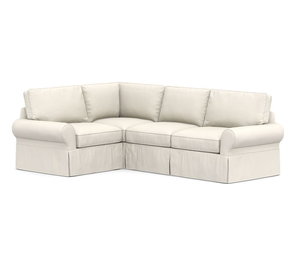 Pb Basic Slipcovered Left Arm 3 Piece Corner Sectional Down Blend Wrapped Cushions Washed Linen Cotton Silver Taupe At Pottery Barn 3 Piece Sectional Slipcovers Deep Seat Cushions