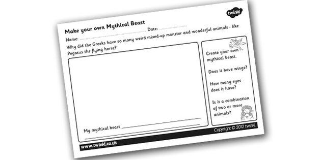 make your own mythical beast worksheet design your own greek