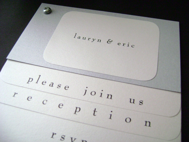 "Modern Wedding Invitation with Screwpost ""Lauryn"" Industrial Design Sample in Silver. $6.50, via Etsy."