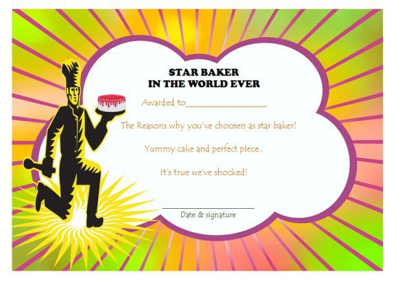 Star baker certificate cake competition certificates pinterest cake competition certificates for bake off cake decorating competitions demplates yelopaper Image collections