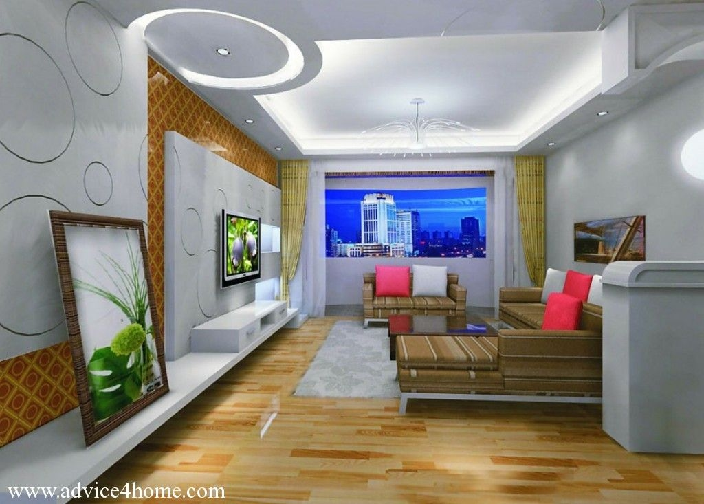 White pop ceiling design and wall design and brown sofa for Drawing hall interior decoration