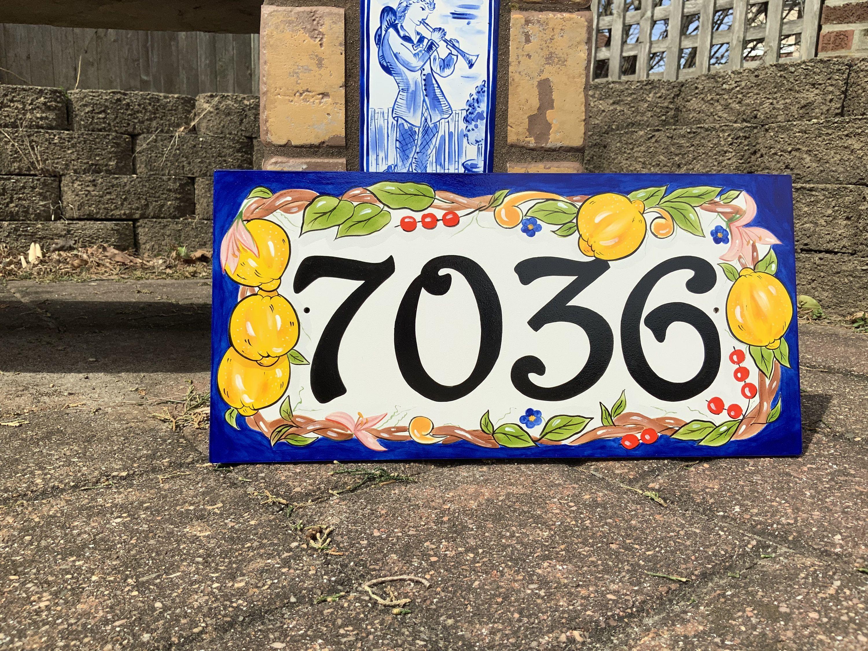 lemon house numbers italian ceramic
