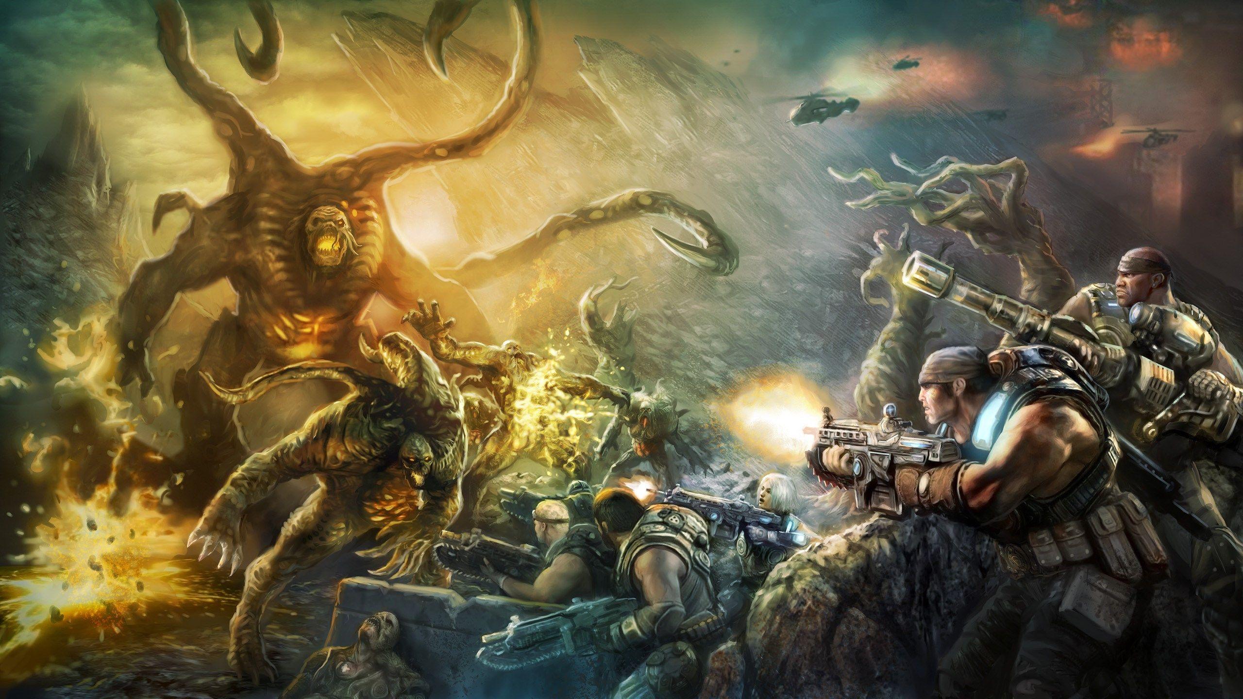 Gears Of War Full Hd Pictures 2560x1440 Gears Of War Gears Of War 3 War Artwork
