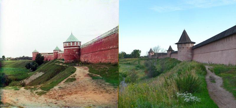 Западная стена Спасо-Ефимиевского монастыря. Суздаль, 1912 (слева) и 2012