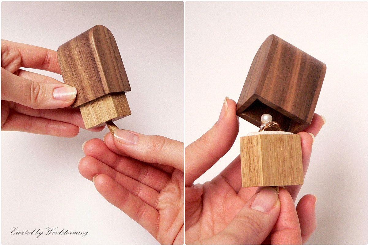 Engagement Ring Box Original Woodstorming Design Wooden Handmade Ring Holder Valentines Day Made To Small Wood Box Proposal Ring Box Engagement Ring Box
