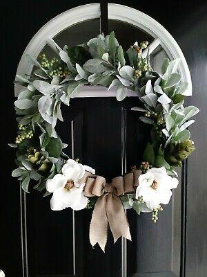 Photo of Beautiful Farmhouse Lambs Ear White Magnolia Wreath Handmade #fashion #home #ga …