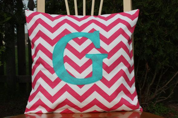 LOVE!!!! Pink and Turquoise Nursery colors:  Monogrammed Candy Pink Chevron Pillow Cover  by nest2impress