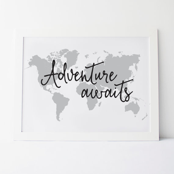 Printable Art Adventure Awaits Wall Print Map By Elemenopeedesign Map Art Diy Wall Prints World Map Wall