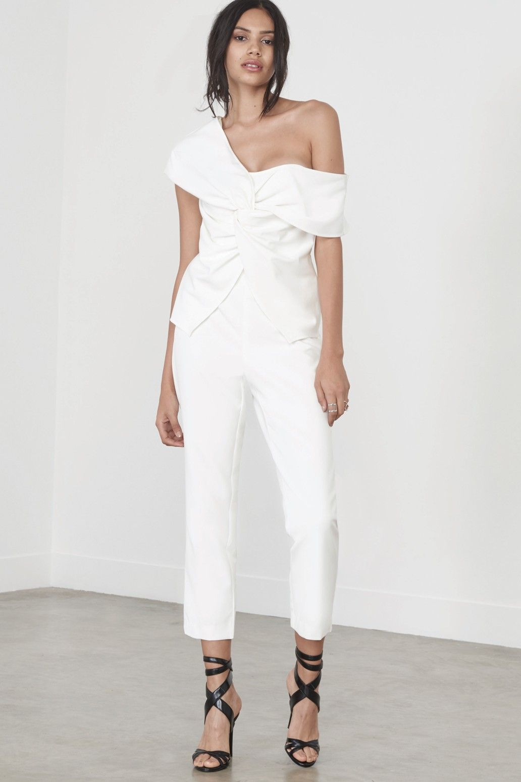 To Jumpsuit Asymmetric Off Twist Shoulder Front White Wear Things CW0qT1