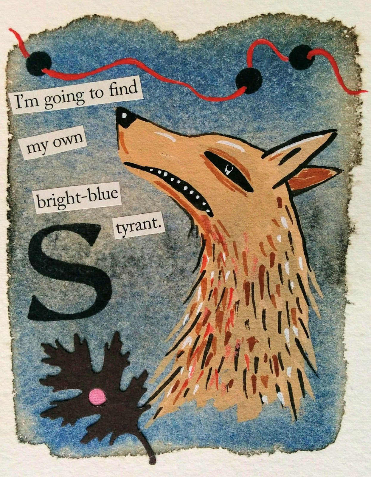 Watercolour Gouache Ink Collage Rubber Stamp