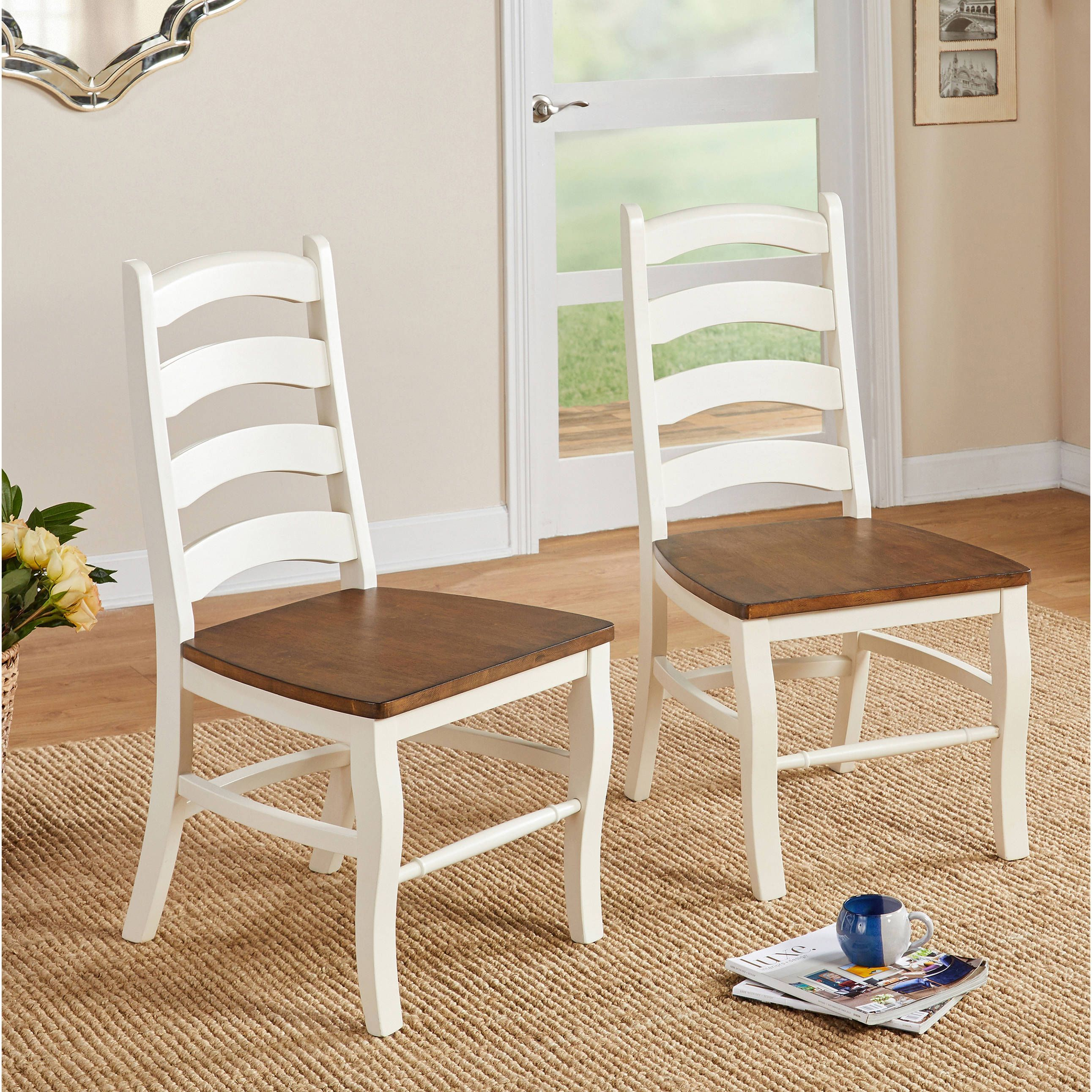 Simple living midland side chair set of 2 midland dining side chair set of 2 beige off white rubberwood