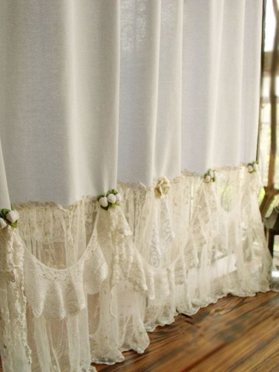 84 French Country Shower Curtain Blue Shabby Ruffles Chic Bohemian Rosettes