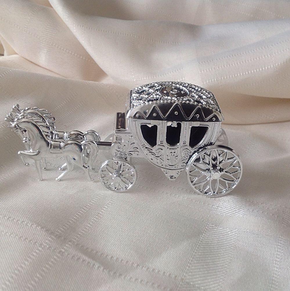 2 Shiny Silver Cinderella Coach Wedding Carriage Favors Cake Topper