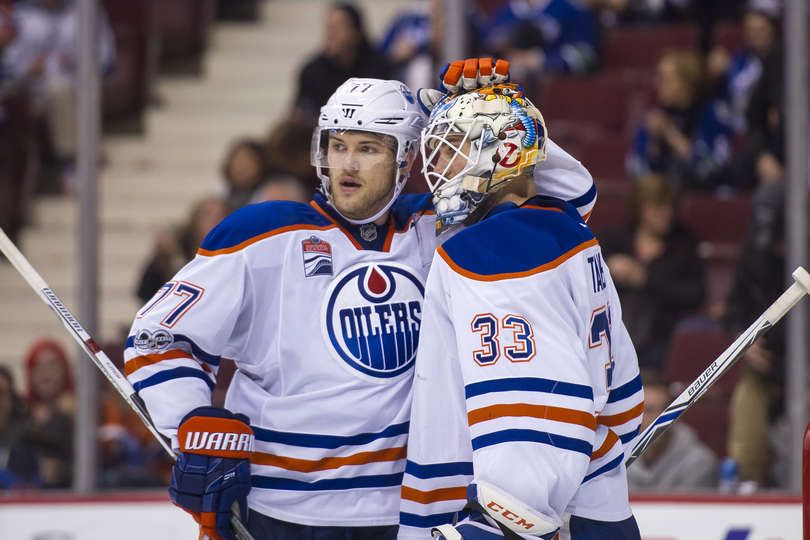 Vancouver Bc April 8 Goalie Cam Talbot 33 Of The Edmonton Oilers Is Congratulated By Teammate Oscar Klefbom 77 After Defea Oilers Canucks Edmonton Oilers