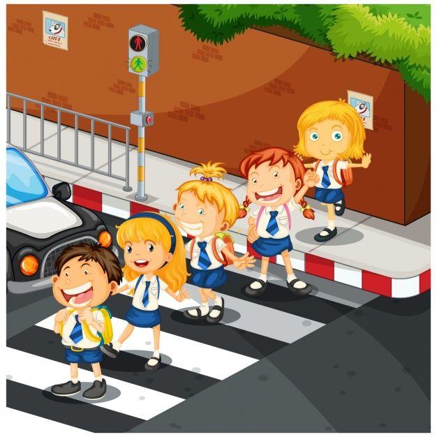 Kids Crossing The Street Dibujos Para Ninos Ninos Caminando Ninos