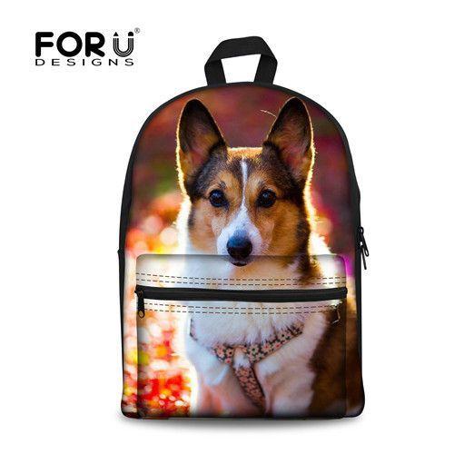 3fffb10996 FORUDESIGNS Animal Prints School Bag For Teen Girls Boys 3D Chihuahua Dog  Women Book Schoolbag Canvas Backpack Mochila Escolar