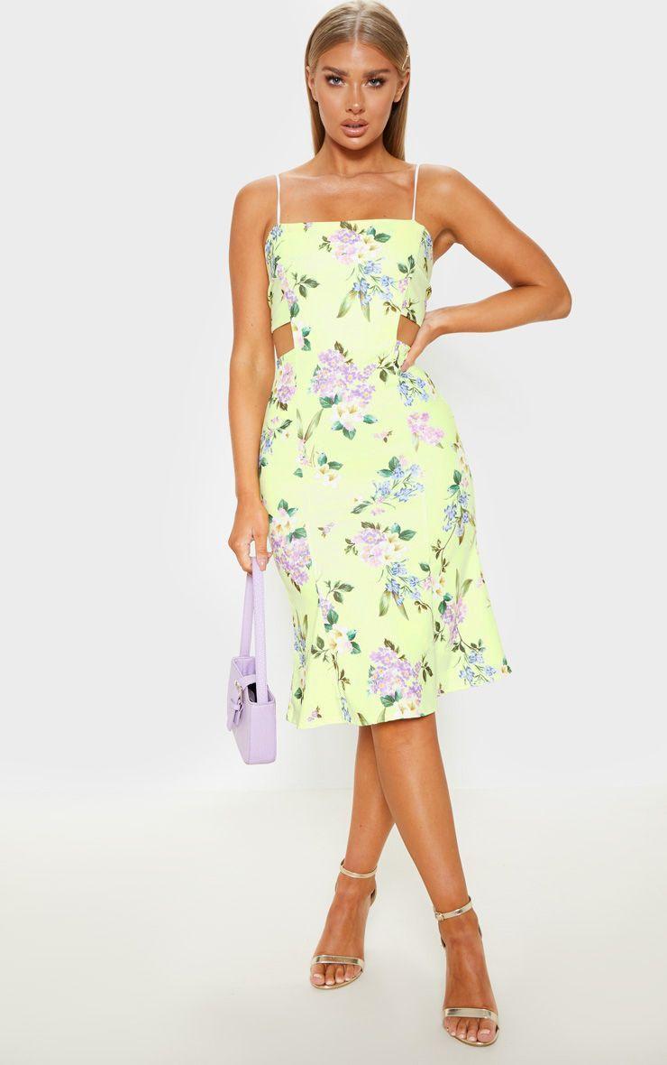 Yellow Printed Scuba Crepe Tie Back Midi Dress Guest Dresses Dresses Midi Dress [ 1180 x 740 Pixel ]