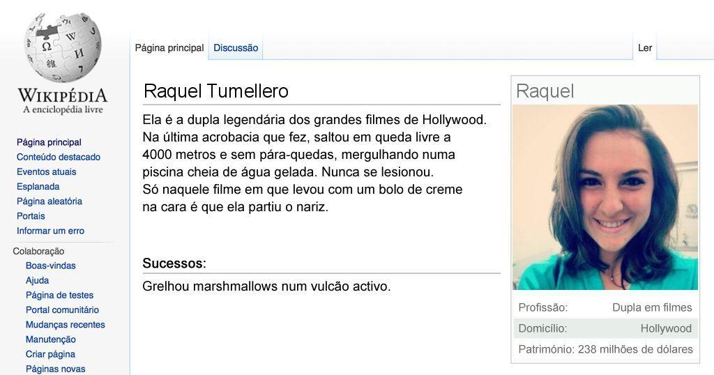 A página de paródia na Wikipédia do Raquel
