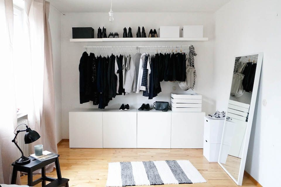 ikea besta kleiderschrank wardrobe design pinterest open wardrobe room and bedrooms. Black Bedroom Furniture Sets. Home Design Ideas